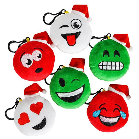 Emoticon Christmas Holiday Plush Clip-On Stocking Stuffers (6 pack)