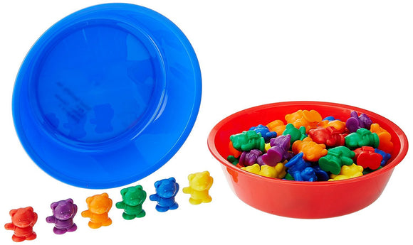 School Smart Bears, Set of 102 Bears and 6 Bowls, Assorted Colors