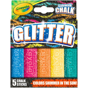 Crayola Outdoor Chalk, Glitter Sidewalk Chalk, Summer Toys, 5 Count