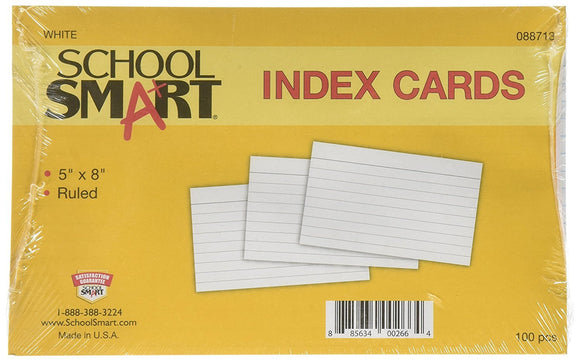 School Smart Heavyweight Ruled Index Cards - 5 x 8 inches - Pack of 100 - White