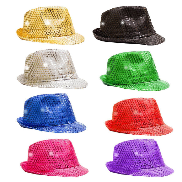 Fun Central O993 LED Light Up Sequin Fedoras - Assorted Colors 12ct