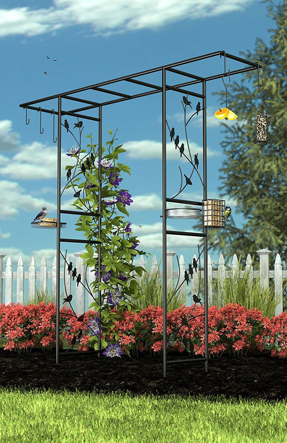 Panacea 83145 Garden Arbor and 10-Piece Bird Feeding Station with Accessories, Perching Birds Design, 84-Inch Height, Black