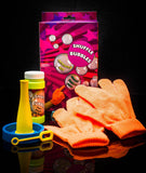 Fun Central AU218 Bubble Games - Bubble Maker with Gloves, Solution and Blowers, 1 kit