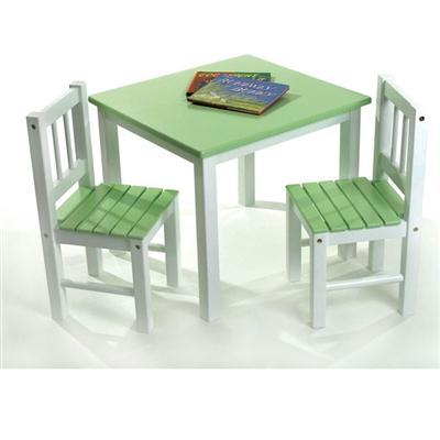 Childs Table Chair Set Grnwht