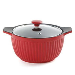 Cp 3qt Ribbed Casserole Red