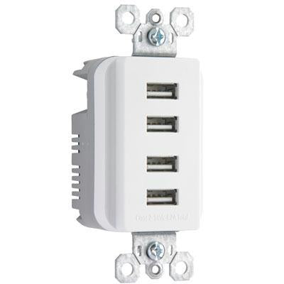 Ps Quad USB Charger Recp Wht