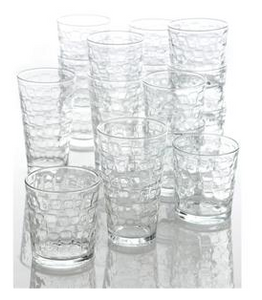 Gibson Home Great Foundations 16 Piece Glass Set, Squares