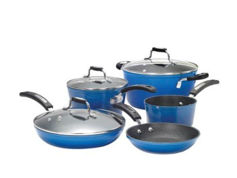 THE ROCK™ by Starfrit® 8-Piece Cookware Set with Bakelite® Handles (Blue)