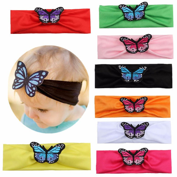 Cartoon 8Colors Children Outdoor Head Wrap Knitting Photo Props Knot Turban Butterfly Headband