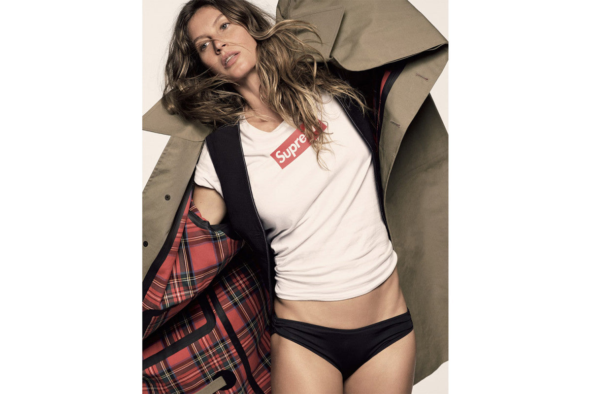 Gisele Bündchen Flexes in a Supreme Box Logo for 'Vogue Japan'