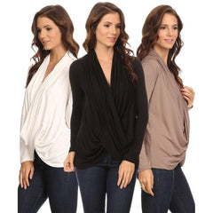 3 Pack Women's Long Sleeve Criss Cross Cardigan: BLACK/COFFEE/IVORY