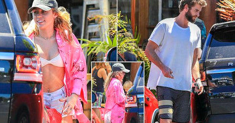 Miley Cyrus Rocks White Bikini Top And Tiny Denim Shorts While Out With Liam Hemsworth