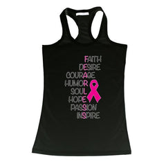 Women's FEARLESS Breast Cancer Awareness Racerback TANK TOP BLACK