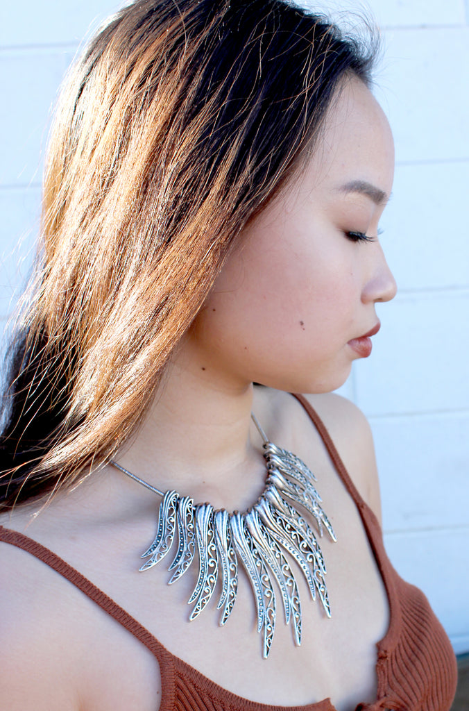 modern ethnic silver sun necklace