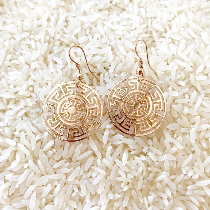 aztec inspired gold earrings