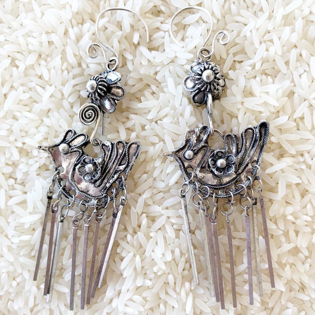 Hmong Traditional Bird of Paradise Silver earrings