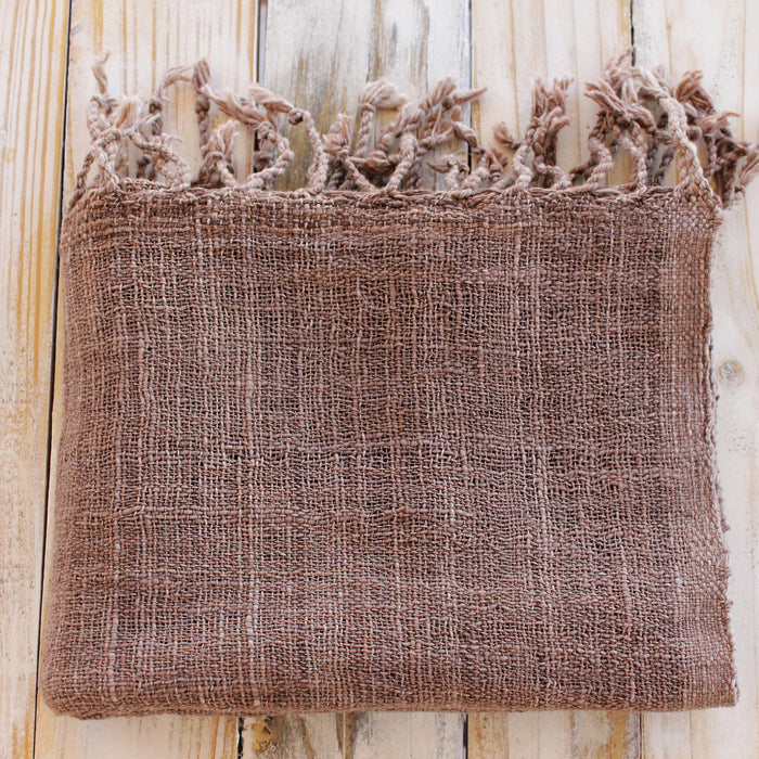 Handwoven Organic Cotton Shawl - Brown