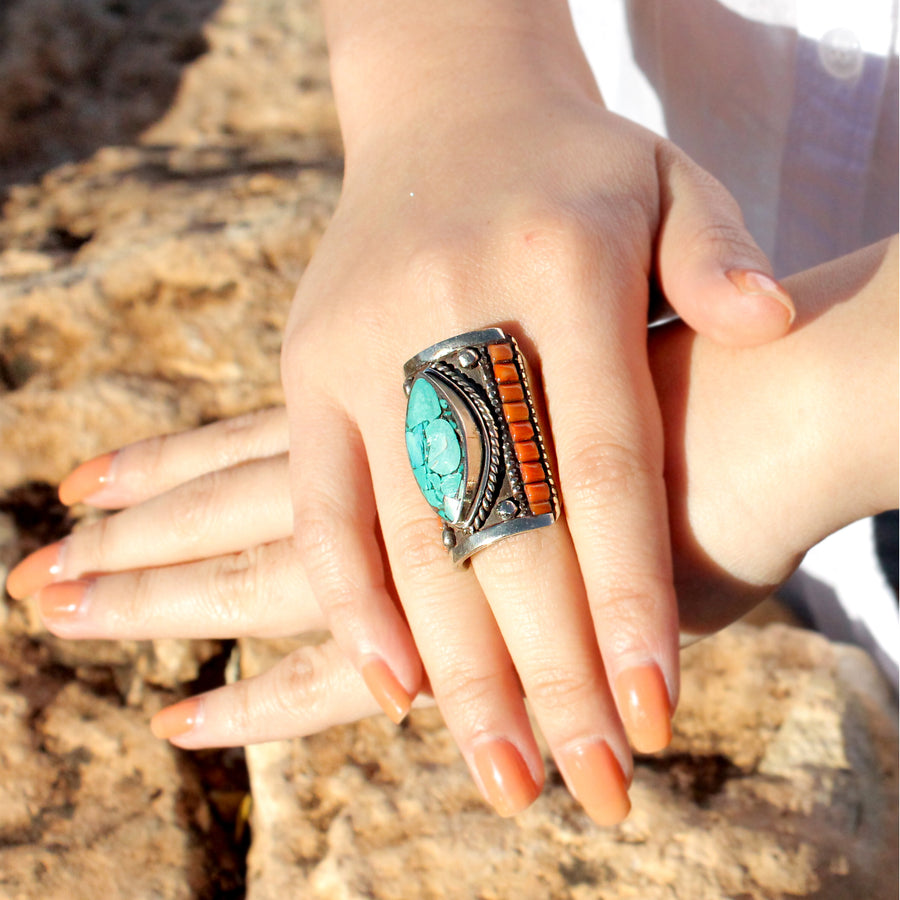 Turquoise and Coral Tibetan Ceremonial Ring