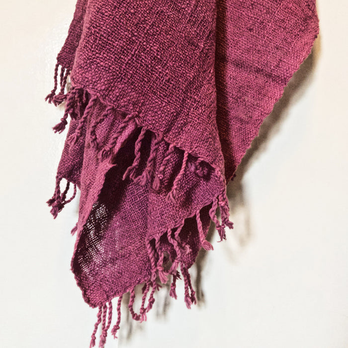 Handwoven Organic Cotton Scarf - Dark Rose
