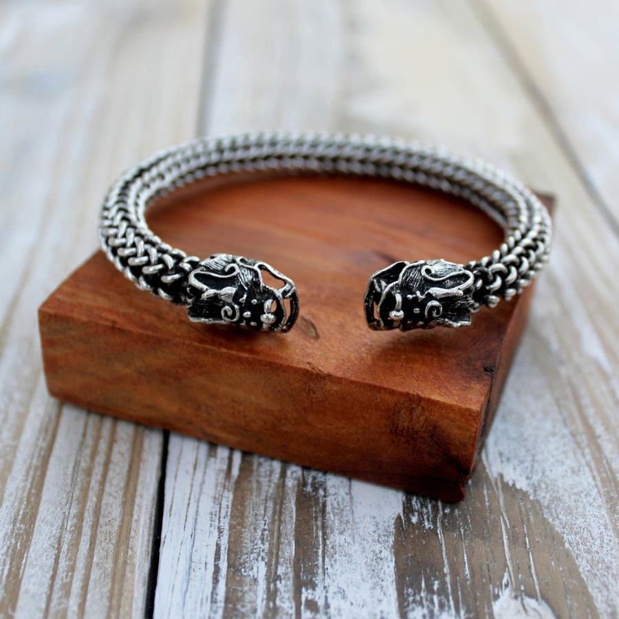 silver Two-Headed Dragon Tribal Bangle