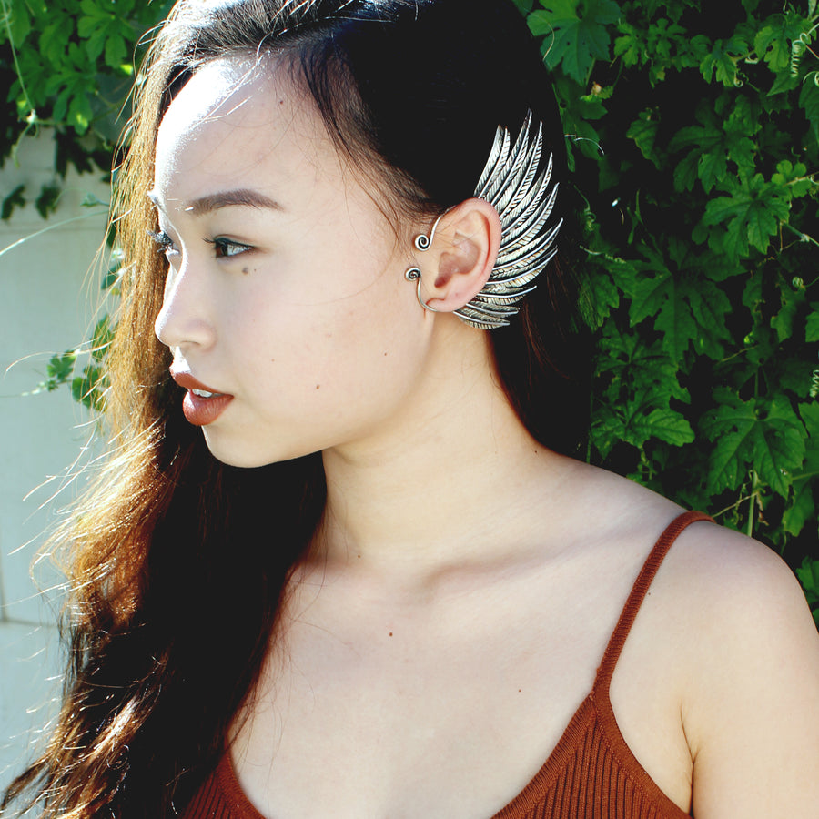 silver Feather Wing Ear Cuff