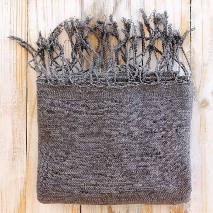Handwoven Charcoal Grey Organic Cotton Scarf