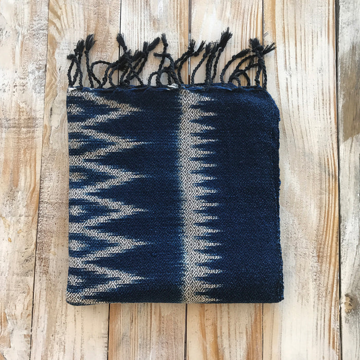 Dark Indigo Ikat patterned scarf