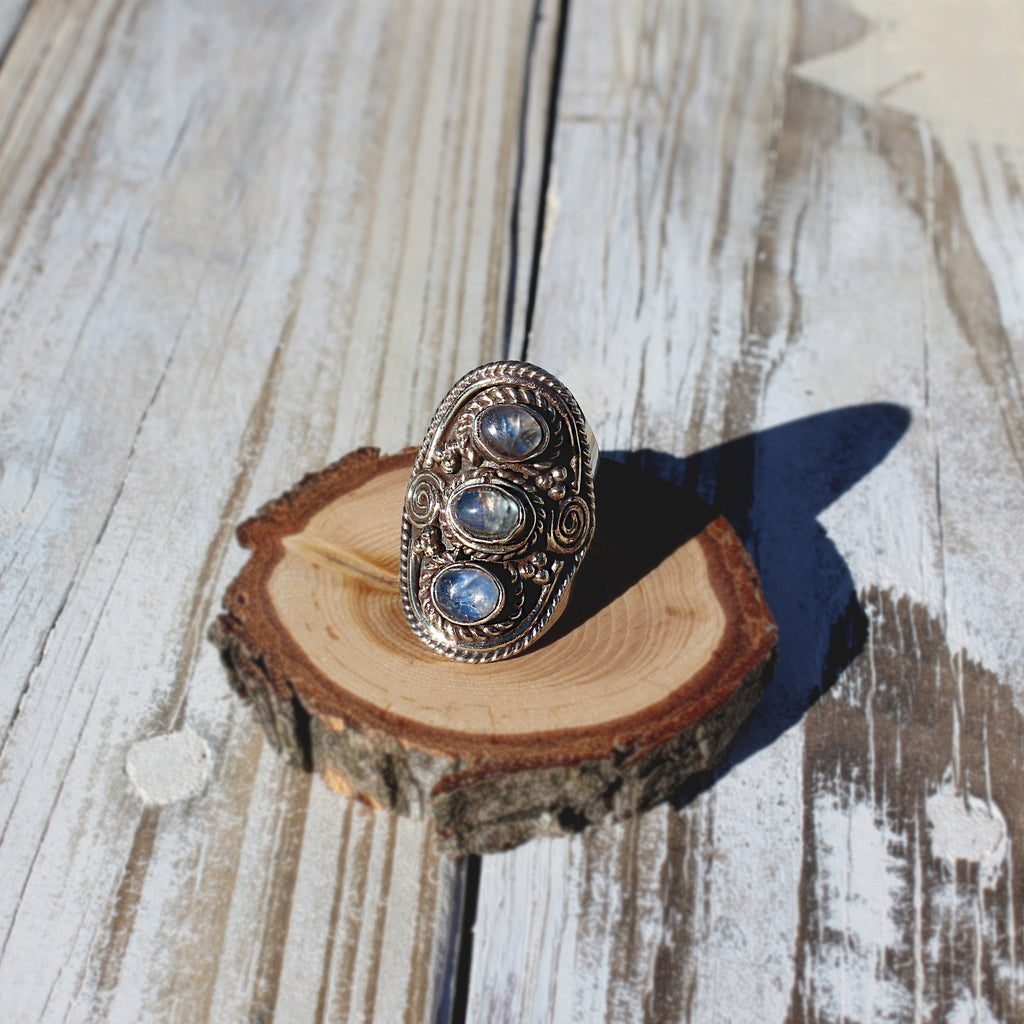 Triple blue moonstone Himalayan ring