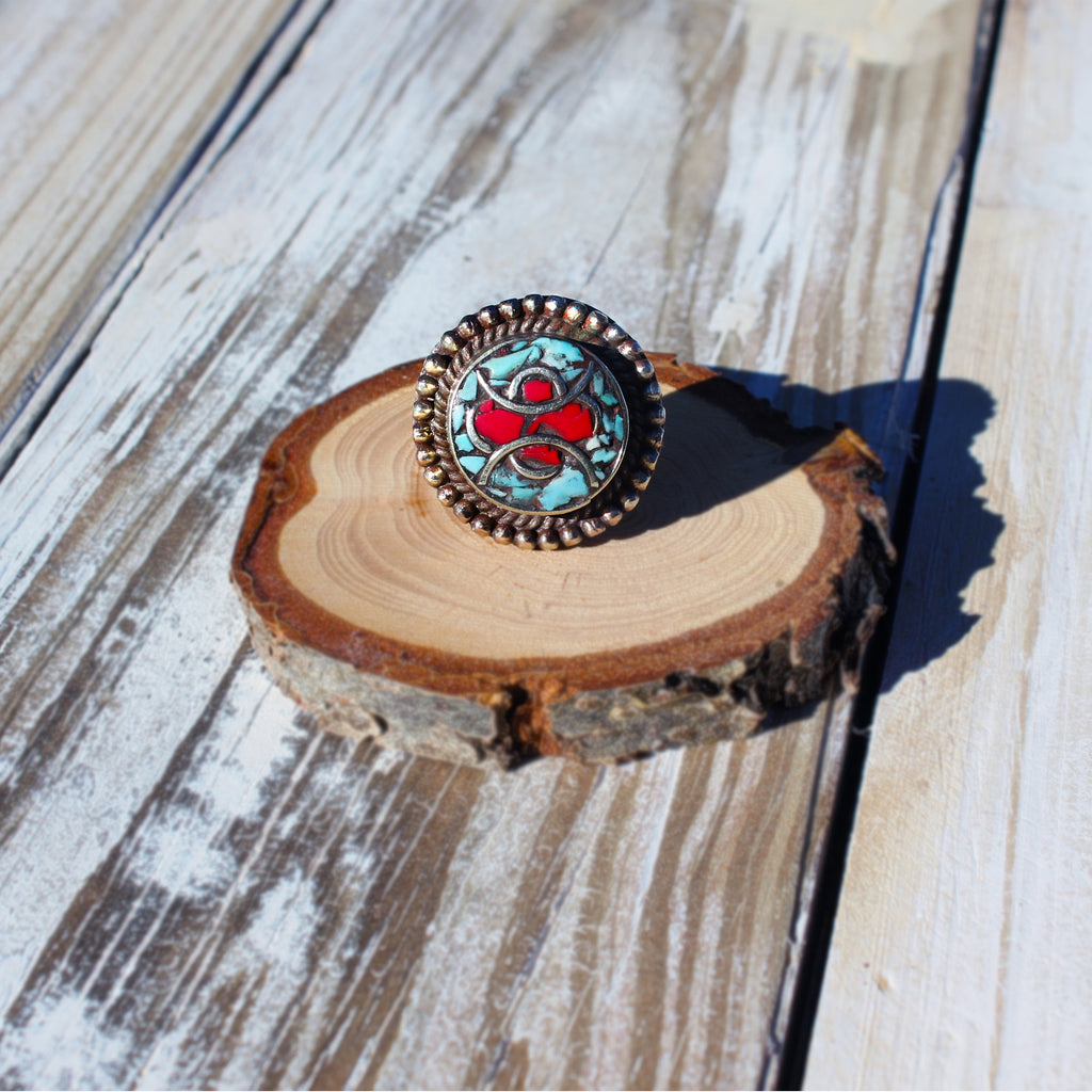 Tibetan Turquoise and Coral Tribal Mosaic Ring