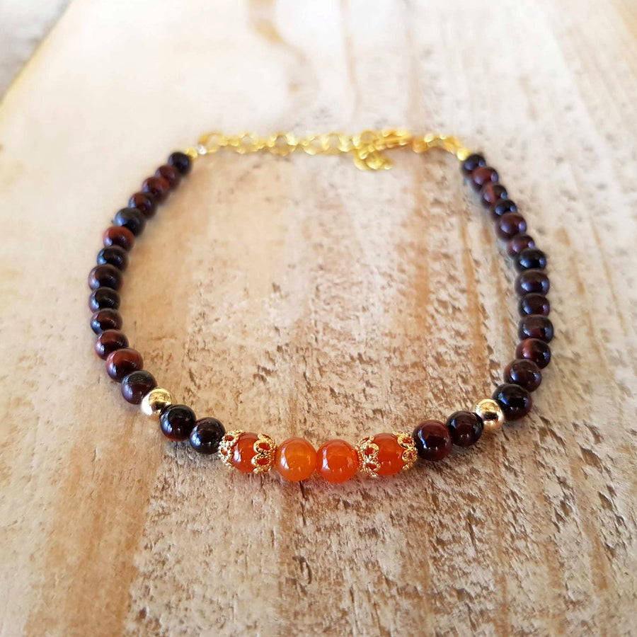 red agate and red tiger's eye bracelet