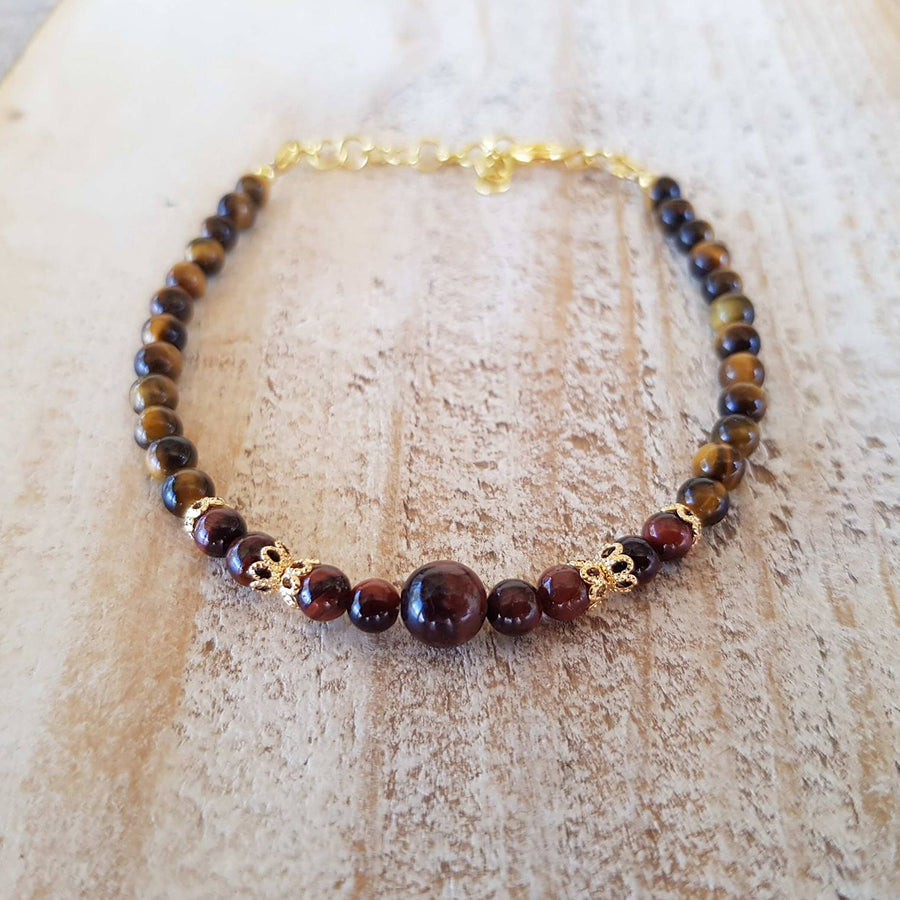 red and brown tiger's eye bracelet