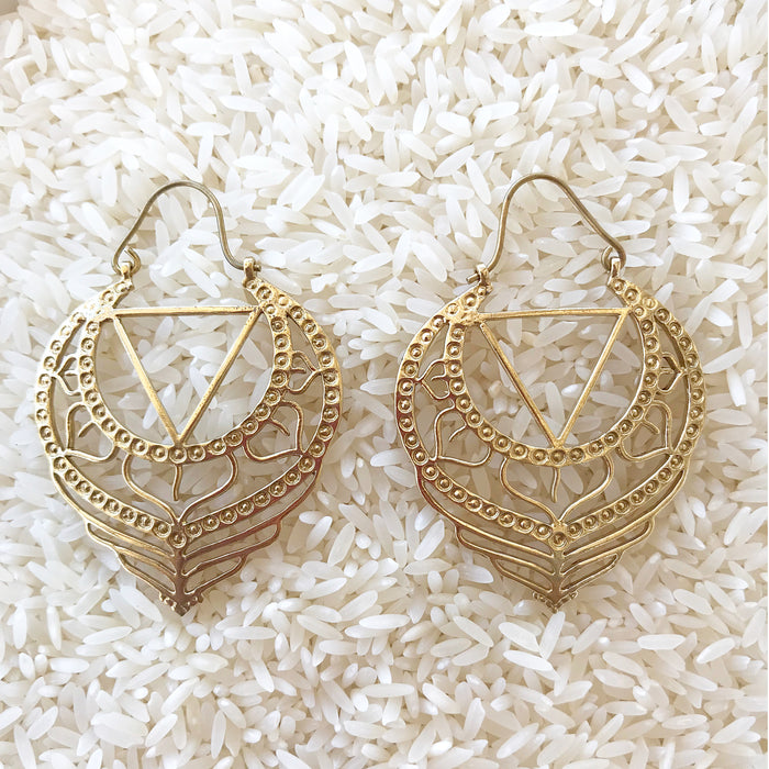 Sacred Mandala Gold Earrings