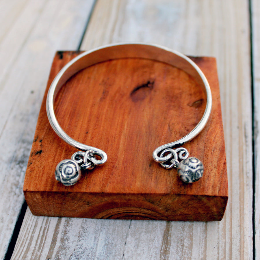 Simple Silver Charm Bangle