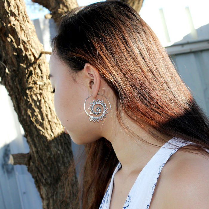 Spiral Mandala Silver Earrings