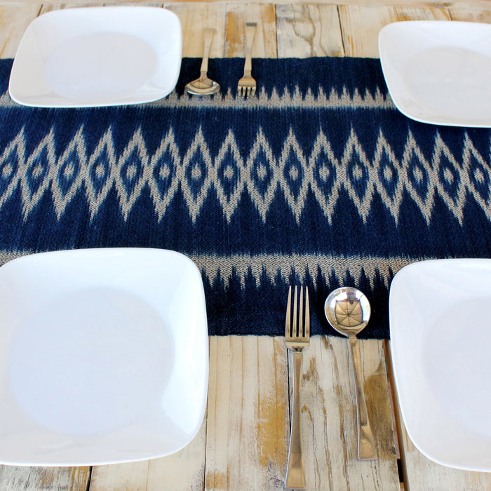 dark indigo ikat patterned table runner