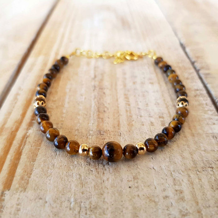 tiger's eye small beaded bracelet