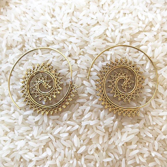 Tribal Swirl Brass Earrings
