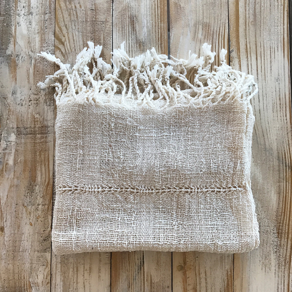 Handwoven White Organic Cotton Scarf