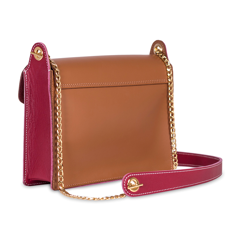 TAN AND RASPBERRY BUTTON BAG WITH CHAIN CROSS-BODY