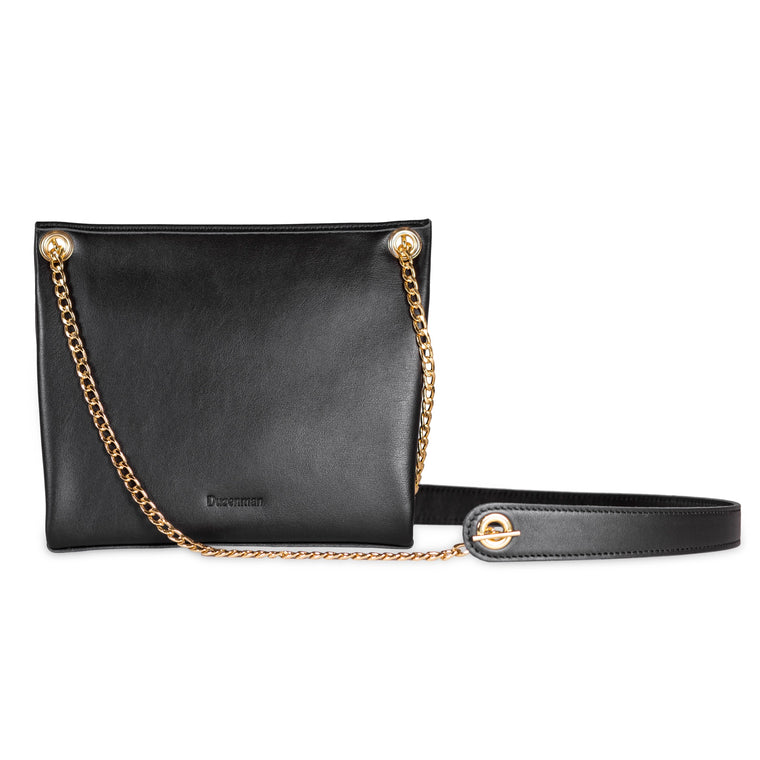 BLACK ASSEMBLAGE POUCH WITH CHAIN CROSS-BODY