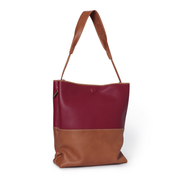 RASPBERRY AND TAN EASY TOTE WITH TAPERED SHOULDER STRAP