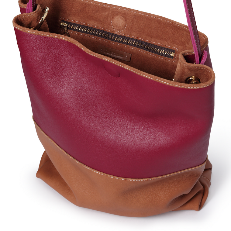 EASY TOTE - TAN AND RASPBERRY