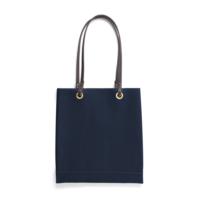 Simple Tote - Navy with Grey Leather Shoulder Straps