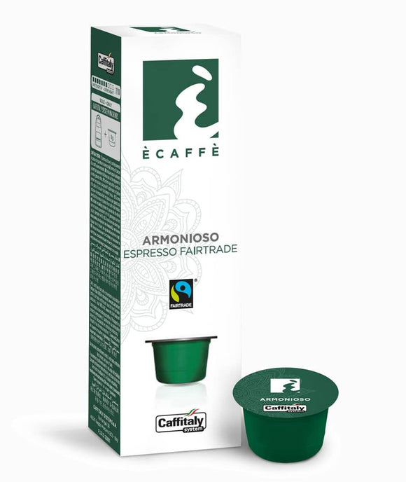 CAFFITALY ECAFFE ARMONIOSO FAIRTRADE COFFEE CAPSULES (10 Packs of 10 Capsules) FREE UK DELIVERY