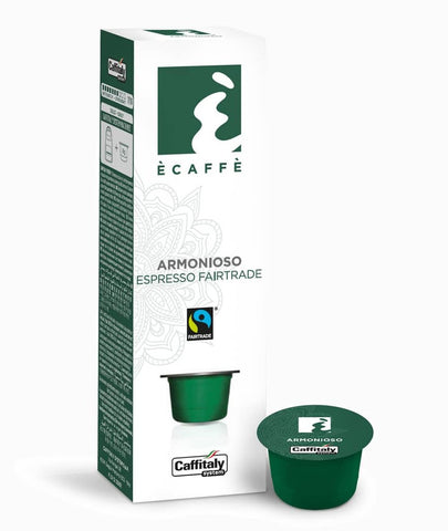 CAFFITALY SYSTEM ECAFFE ARMONIOSO FAIRTRADE COFFEE CAPSULES (10 Packs of 10 Capsules) FREE DELIVERY WITHIN THE UK ONLY - amrcoffeepods