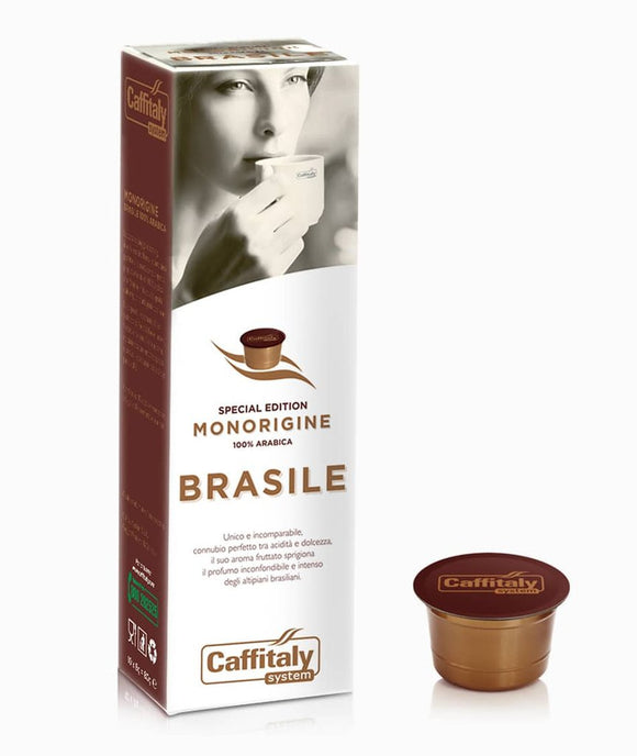 CAFFITALY ECAFFE BRASILE COFFEE CAPSULES (10 Packs of 10 Capsules) FREE UK DELIVERY