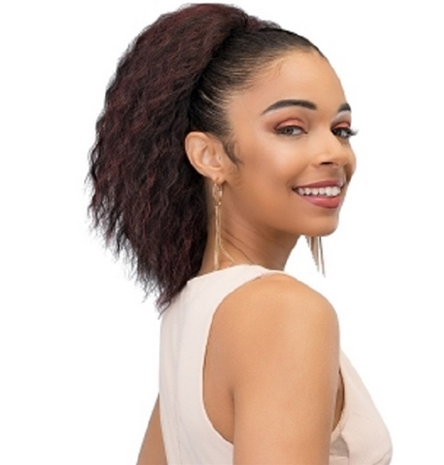 JANET COLLECTION SHORT KINKY STRAIGHT SYNTHETIC DRAWSTRING PONYTAIL - Textured Tech