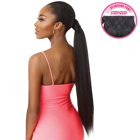 "OUTRE PRETTY QUICK SALON STYLE WRAP PONY TAIL JUMBO KINKY STRAIGHT 24"" - Textured Tech"