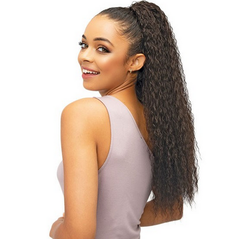 JANET DRAWSTRING PONYTAIL - BERRY - Textured Tech