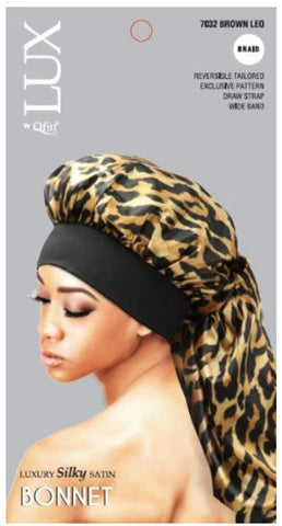 LUX BY QFITT XL BRAID SILKY SATIN BONNET - Textured Tech